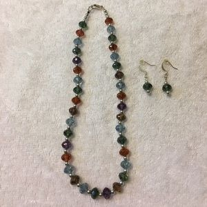 Jewelry - Crystal beaded necklace and earrings set